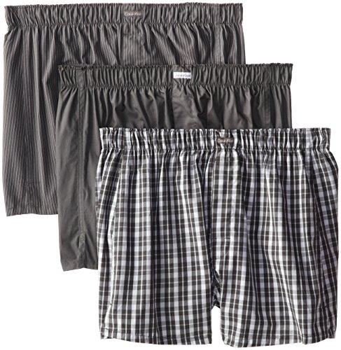 Calvin Klein Men's Cotton Classics 3 Pack Boxers, Matthew Stripe/Grey Sky/Glen Plaid, Large (Boxer Underwear Men)
