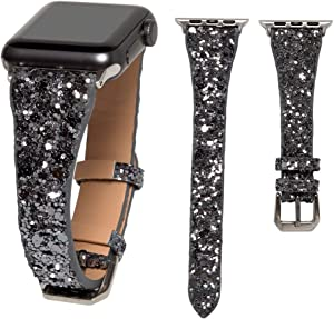 HAYUL Glitter Band Compatible with Apple Watch 38mm 40mm 42mm 44mm, Luxury Shiny Bling Leather Strap Wristband for iWatch Series 6/5/4/3/2/1 SE Women Girls (Space Grey, 38mm/40mm)