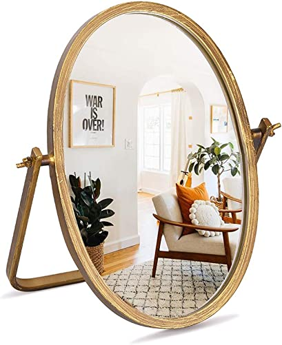Geloo Vanity Makeup Mirror Decor – Oval Vintage Desk Table Mirror 360 Adjustable Rotation, Golden Metal Framed 10 Small Standing Mirrors, Boho Room Decor for Tabletop,Bedroom, Living Room,Antique