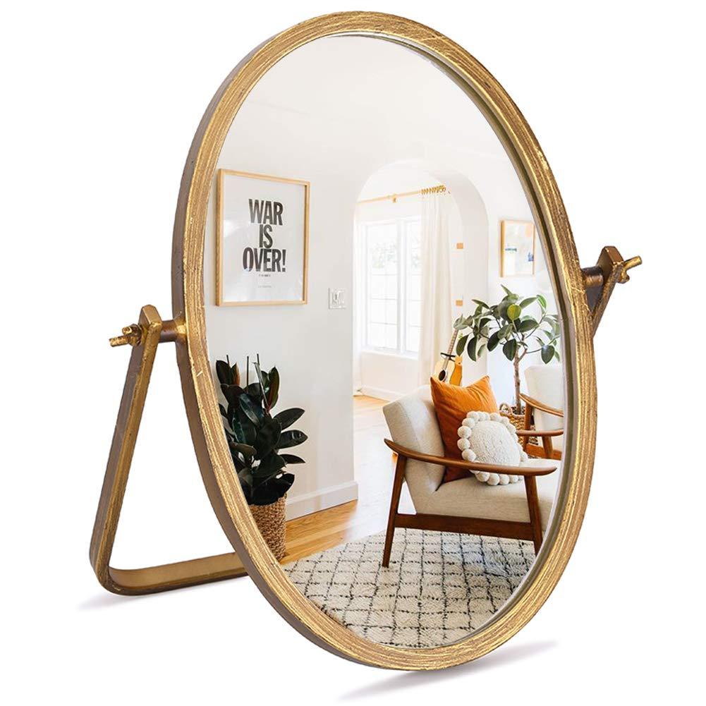 "GELOO Vanity Makeup Mirror Decor - Oval Vintage Table Mirrors 360 Adjustable Rotation, Bronze Metal Framed 10"" Small Standing Mirror, for Tabletop, Office, Bedroom, Bathroom, Living Room,Antique"