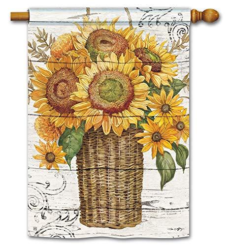 BreezeArt Studio M Farmhouse Sunflower Standard Flag Decorative Standard House Flag Banner - Premium Quality, 28 x 40 Inches