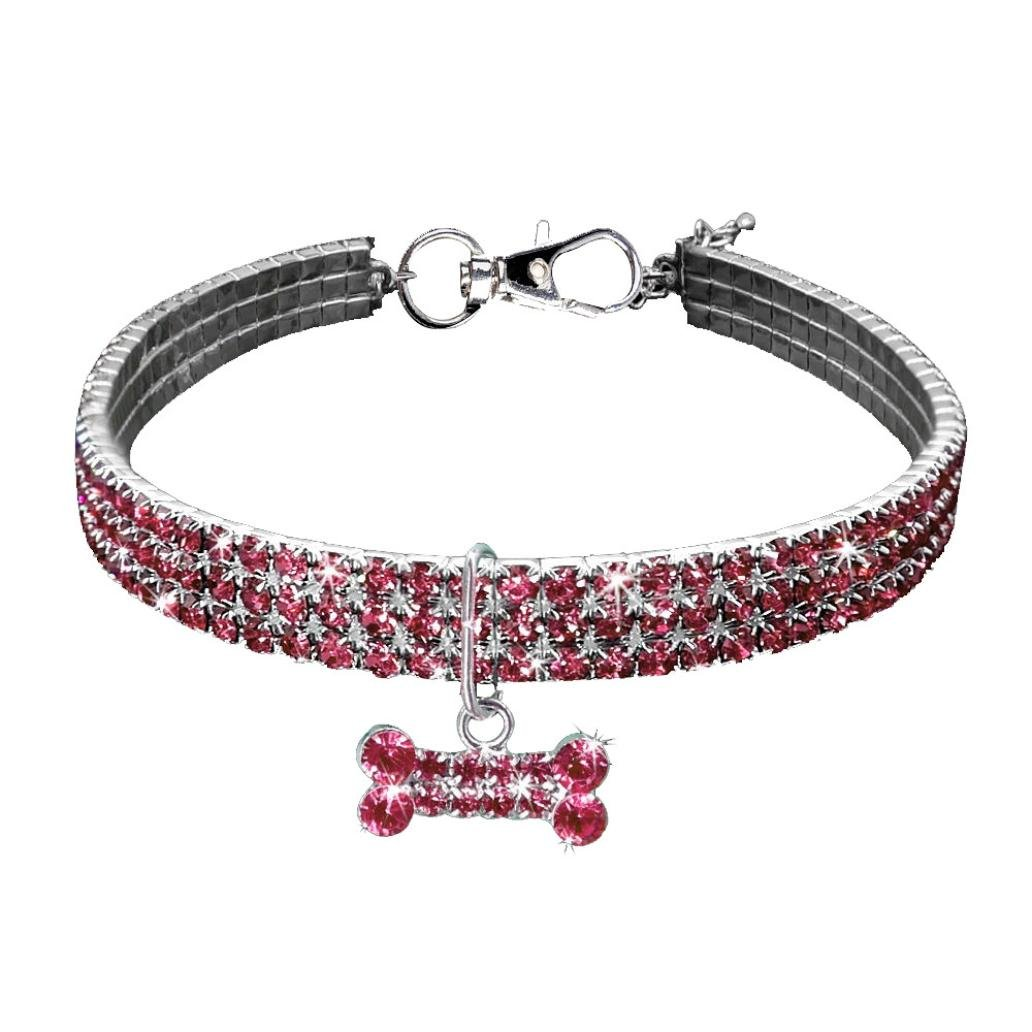Necklace for Small Dog Girl Wakeu Rhinestone Bling Collars with Bone Pendant (S, Pink)