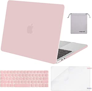 MOSISO MacBook Pro 15 inch Case 2019 2018 2017 2016 Release A1990 A1707, Plastic Hard Shell Case&Keyboard Cover&Screen Protector&Storage Bag Compatible with MacBook Pro 15 Touch Bar, Rose Quartz