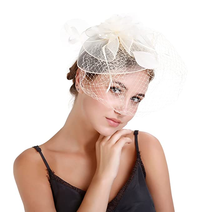 EEVASS Cappelli Donna Fascinator Cappello Veil Looped Strips Fiore Piuma  Hat Wedding (  Beige) 0822cee4f24