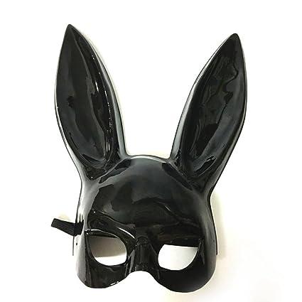 LUOEM Máscara del conejo de las mujeres La mitad de la cara Máscara del oído del