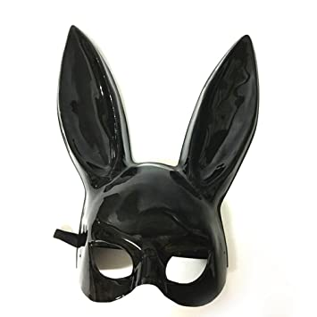 Buy LUOEM Women's Rabbit Mask Half Face Rabbit Ear Mask Bunny Rabbit Ear  Mask for Easter Party Halloween Bar Costume Cosplay Accessory (Bright  Black) Online ...