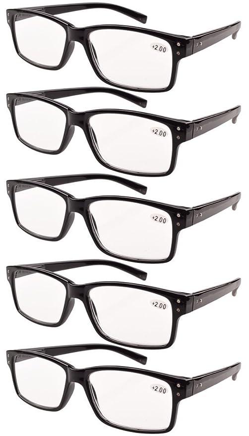 Eyekepper 5 paquetes de bisagra con muelle Vintage Gafas de Lectura (Negro,+1.50)