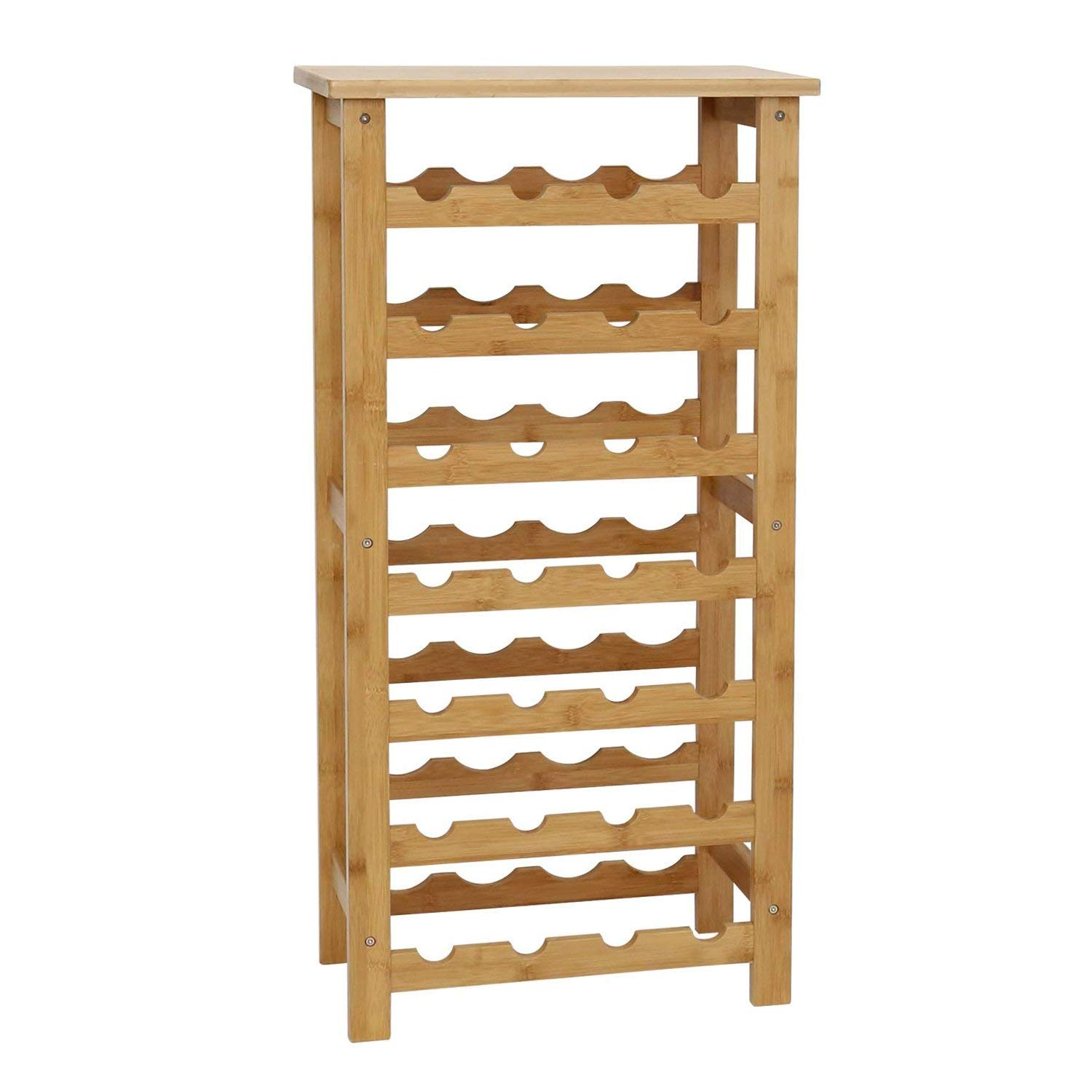 Kinbor Bamboo Wine Standing Rack Storage (28-Bottle)
