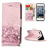 iPod Touch 6 Case, iPod Touch 5 Case, Ranyi [Marble Design Wallet] [Card Holder / Card Slot] [Kickstand Feature] Flip Folio Leather Wallet Case for Apple iPod touch 5 6th Generation (rose gold)
