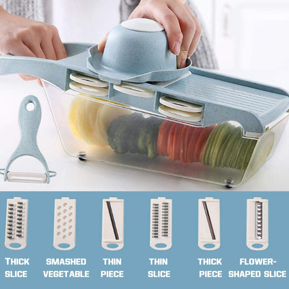 Mandolin Slicer Manual Vegetable Fruit Cutter Potato Carrot Grater Cheese Slicer with 6 Interchangeable Stainless Steel Knives in Random Color Elec tech