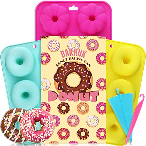 BAKHUK 3 Donut Baking Pan, Non-stick Silicone Molds, Full-size Round and Flower Donuts/Cake Molds by BAKHUK