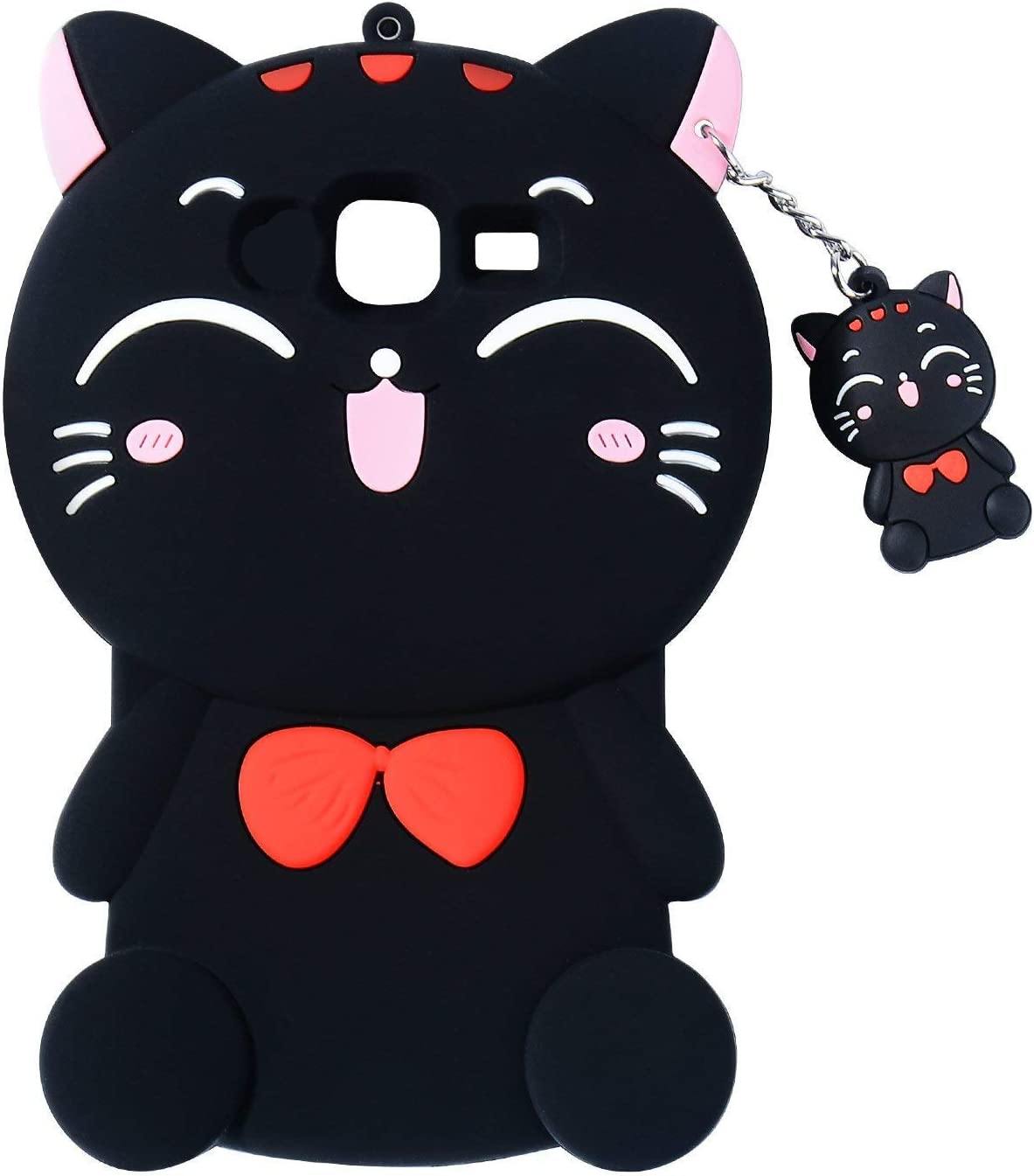 Joyleop Black Cat Case for Samsung Galaxy J5 Prime,Cute 3D Cartoon Animal Cover,Kids Girls Fun Soft Silicone Rubber Kawaii Character Unique Cases,Shockproof Skin Protector for Samsung J5Prime (Black)