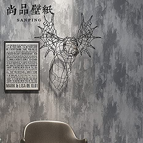 JZMMCD Retro Wallpaper Mottled Grey Cement Industry Wind Plain Pure Non-Woven Wallpaper Hotel Clothing Store Office, Cement ash