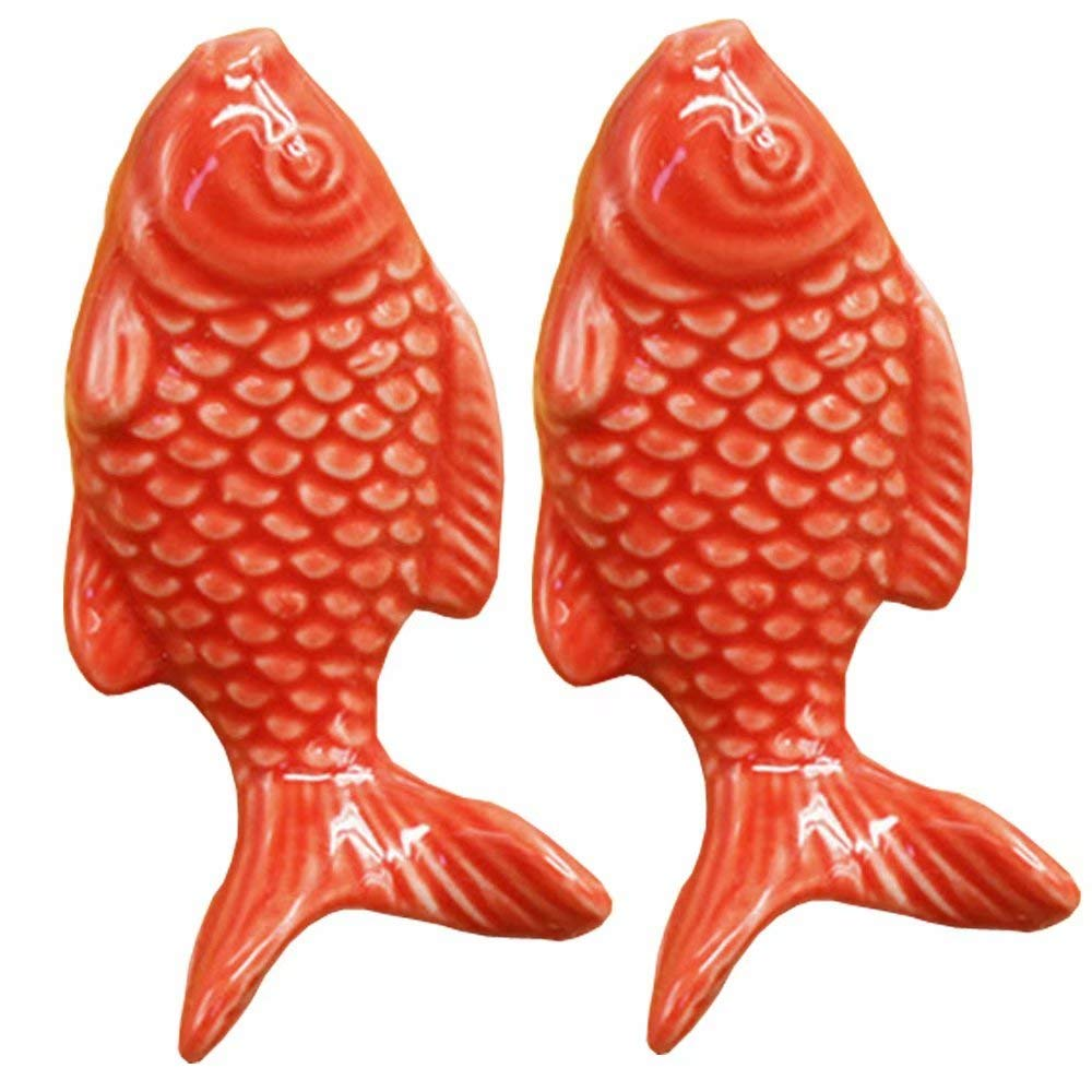 FirstDecor 2PCS 55mm Red Cute Fish Shape Ceramic Door Knob Handle Pull-Kid's Room Great & Fun Decor Pull Knobs for Cupboard/Cabinet/Wardrobe/Drawer/Bathroom 7 Colors Available