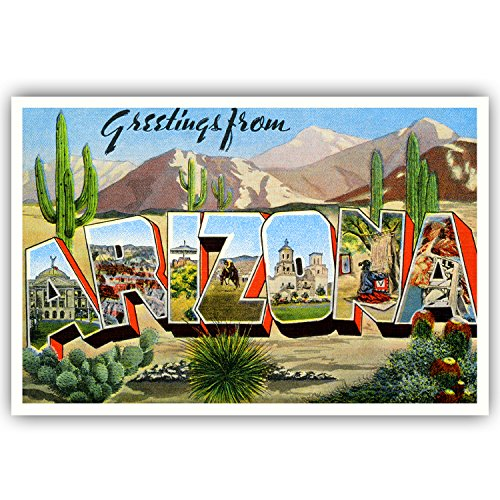 GREETINGS FROM ARIZONA vintage reprint postcard set of 20 identical postcards. Large letter US state name post card pack (ca. 1930's-1940's). Made in USA.