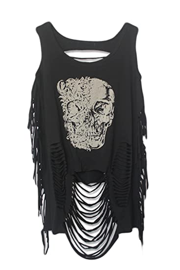 73bbcb5b6bd Lettre d amour Women Punk Print Tassels Ripped Hole Hollow Out Backless Vest  Tank-