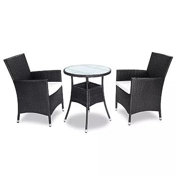 Tuduo Juego de Mesa y sillas de jardín de 5 Piezas en polirratán ...