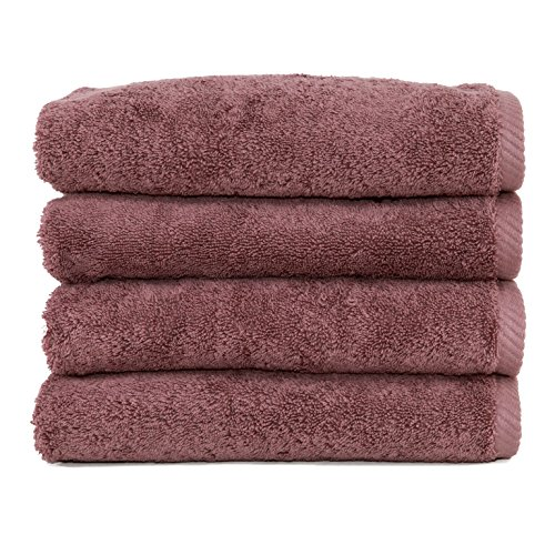 (Linum Home Textiles Soft Twist Premium Authentic Soft 100% Turkish Cotton Luxury Hotel Collection Hand Towel, Set of 4, Sugar Plum)