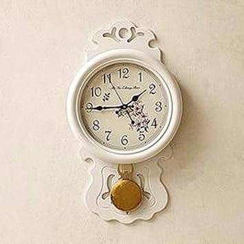 QPSSP-Reloj de pared Europeos de lujo Retro Reloj Reloj de pendulo tamaño de mesa living comedor madera bizhong Rolling péndulo de reloj de pared,B: ...
