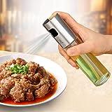 Rociador de aceite de oliva, dispensador de botella de spray de vinagre de aceite de acero inoxidable de 100 ml Hervidor de agua Sazonador Hervidor de cocina con vidrio de grado alimenticio, para barb