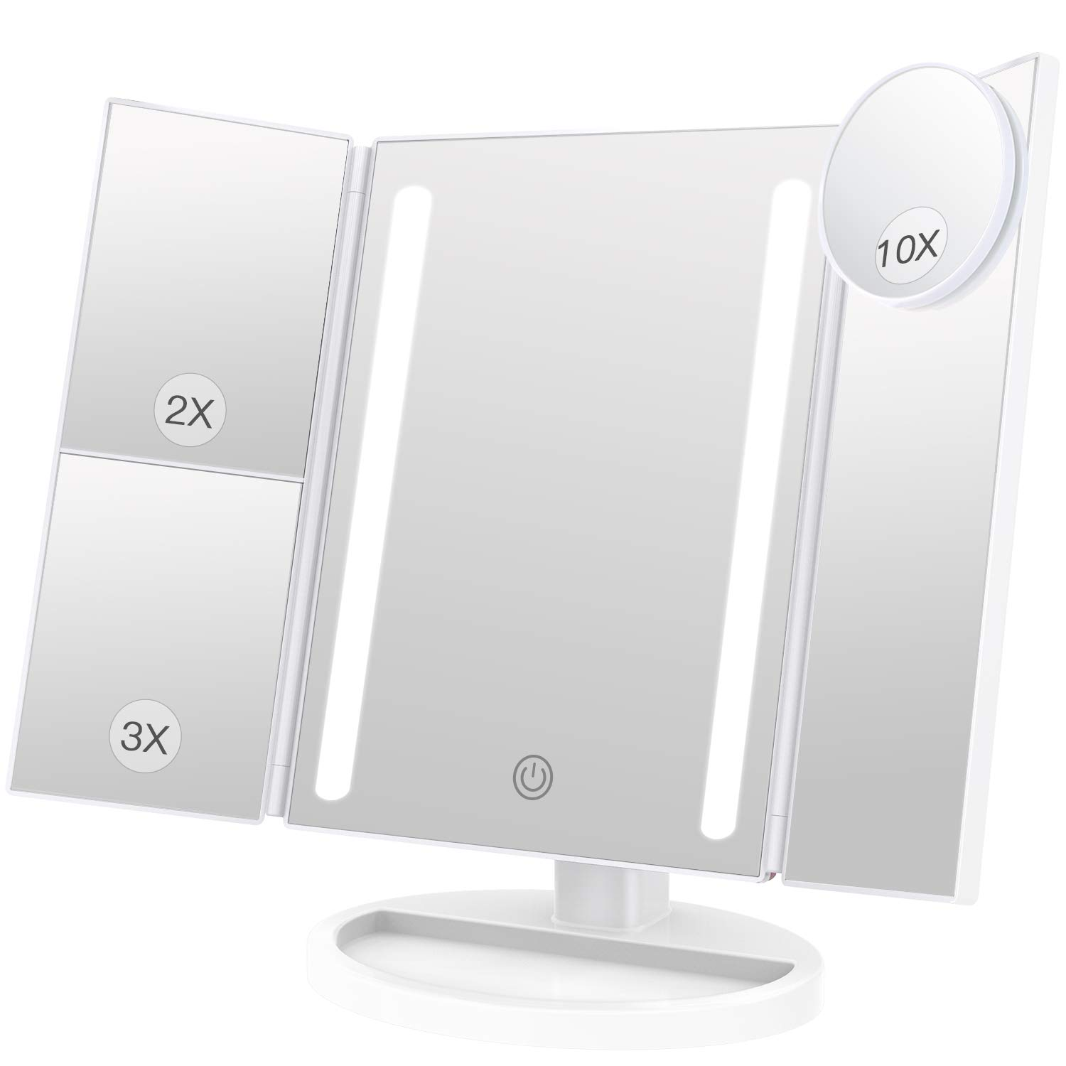 BESTOPE 24 LED Makeup Vanity Mirror with 3X/2X Magnification,Detachable 10X Magnifying Mirror,Touch Screen, 180°Adjustable Rotation, Dual Power Supply, Countertop Costmetic Mirror 180°Adjustable Rotation BESTOPE CA