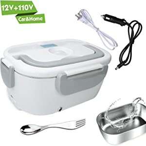 Electric Lunch Box for Car and Home 110V & 12V 40W - Removable Stainless Steel Portable Food Grade Material Warmer Heater - with 2 in 1 Fork & Spoon (White)