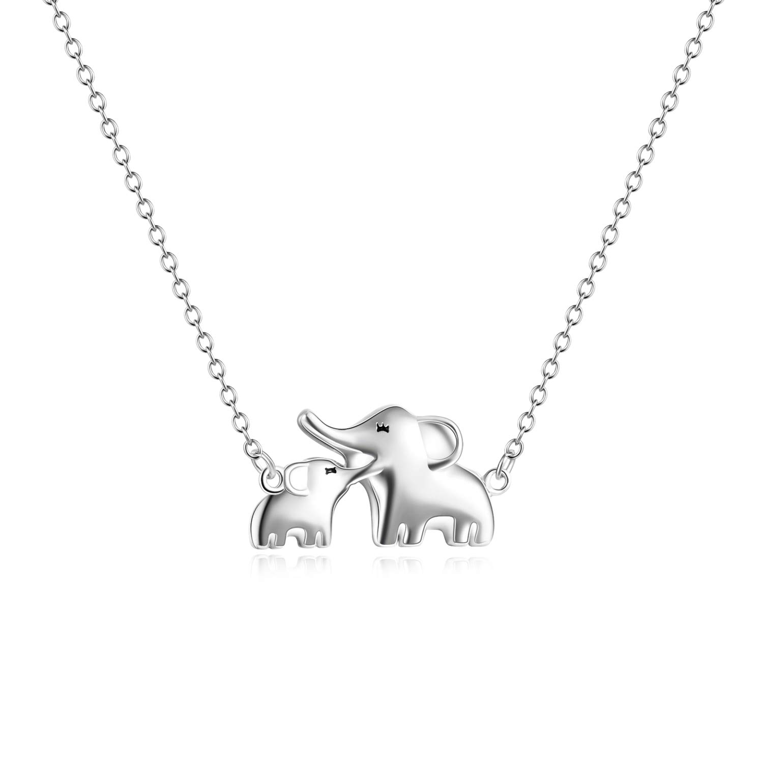 3005acfbb Amazon.com: YFN Mom Baby Elephant Necklace Sterling Silver Good Luck  Elephant Necklace for Mon Women (mom baby necklace): Jewelry
