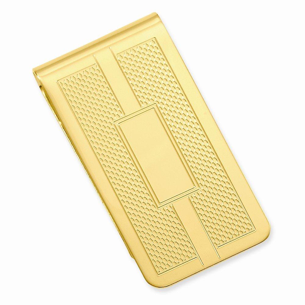 14k Gold Plated Honey Comb & Square Engravable Money Clip