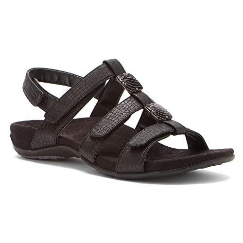 33fda89fdfc0 Orthaheel Vionic Amber - Womens Slide Sandal - Orth Black Crocodile - 5  Medium UK Size
