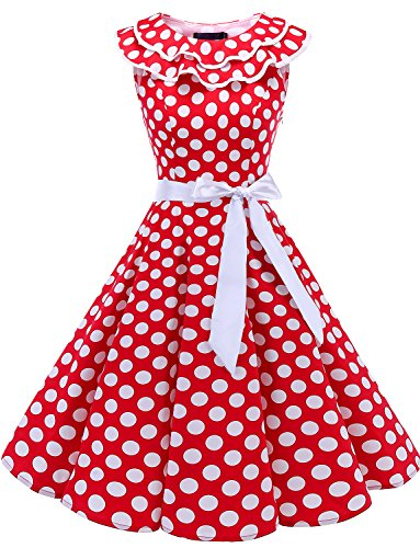 Bridesmay Women Ruffle Collar 50s Vintage Rockabilly Swing Cocktail Party Dress Sleeveless Red White Dot 3XL