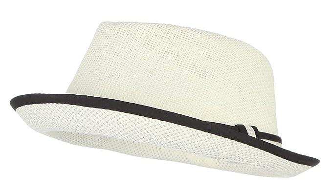 Gemvie Little Boy s Kids Summer Straw Trilby Fedora Hat with Straw Hatband  Beige 4b114cee1dd