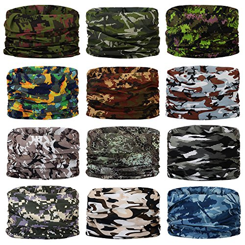 Headwear,Head Wrap, Neck Gaiter, Headband, Fishing Mask, Magic Scarf, Tube Mask, Face Bandana Mask, Neck Balaclava and Sport Scarf 12 in 1 Headband Sweatband for Fishing, Hiking, Running, Motorcycling -