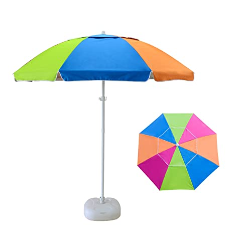 Caymus 7 Ft Rainbow Color Camping Beach Patio Umbrella With Carry Bag 8 Ribs