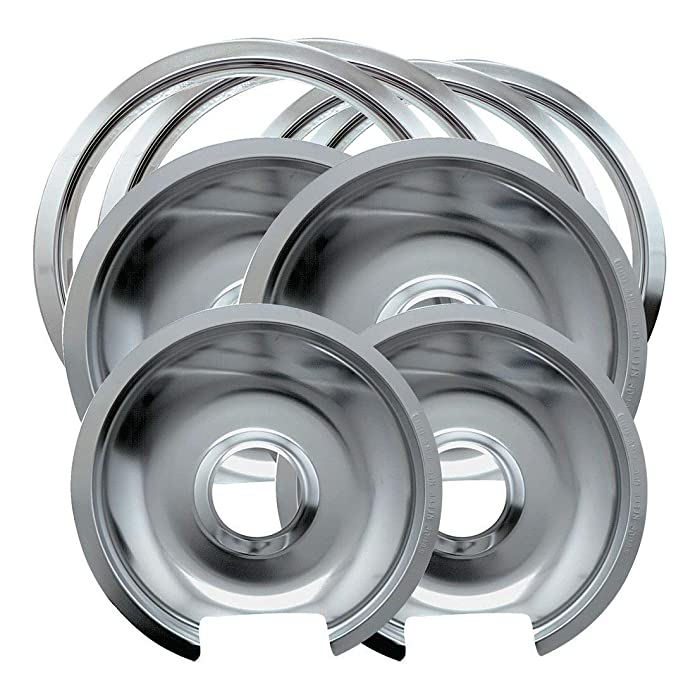 Range Kleen Style D Heavy Duty Drip Pans and Trim Rings (2 Small & 2 Large) for GE/Hotpoint