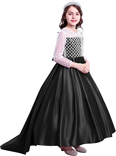 Flower Girl Princess Sequin Dress Party Formal Tiered Trailing Gown For Baby Kid