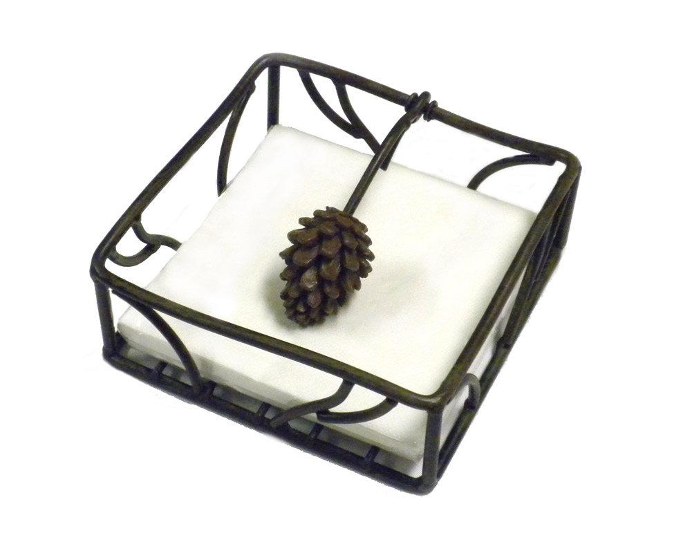 Metal Pine Cone cocktail Napkin Holder With Pine Cone Weight - 5.5'' Square