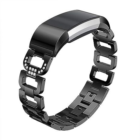 Paski do zegarków STAINLESS STEEL RHINESTONE WATCHBAND WRIST STRAP FOR FITBIT CHARGE 2 FUNNY