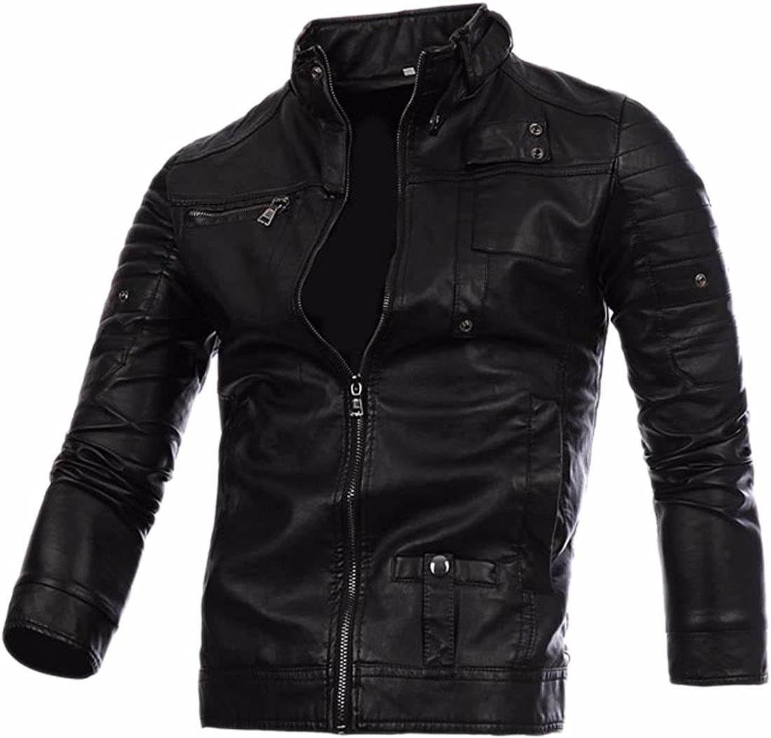 Paixpays Mens Stand Collar Pu Leather Jacket Motorcycle Coat Slim Outwear Parka