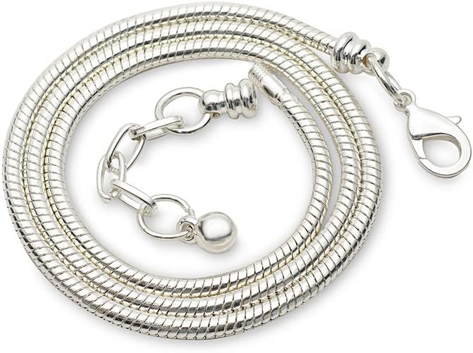 """Snake chain necklace 20/"""" for Euro Beads 3mm thick silver plated chain."""