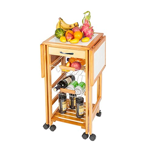 Portable Rolling Drop Leaf Kitchen Storage Trolley Cart Island White Tile Top Folding Trolley Table with 1 Wood Drawer 2 Steel Baskets Sapele Color