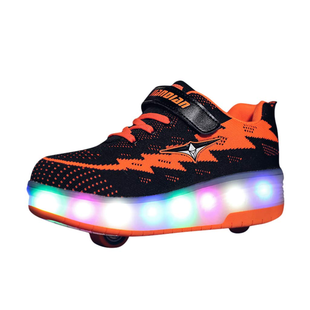 Kauneus Comfortable Mesh Surface Roller Shoes Girls Boys LED Light Up Wheel Shoes Kids Thanksgiving Christmas Day Best Gift Black by Kauneus Kid Shoes NEW