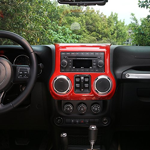 RT-TCZ Inner Accessories Center Console Dashboard Control Panel Cover Trim For Jeep Wrangler JK & Unlimited 2011-2017(RED)