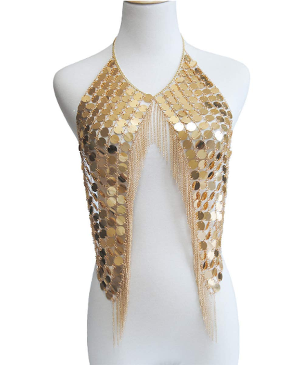 Deniferymakeup Handmade Sexy Clothing Chain Gold and Silver Sequin Body Chain Body Body Decoration Jewelry (Gold) by Deniferymakeup (Image #2)