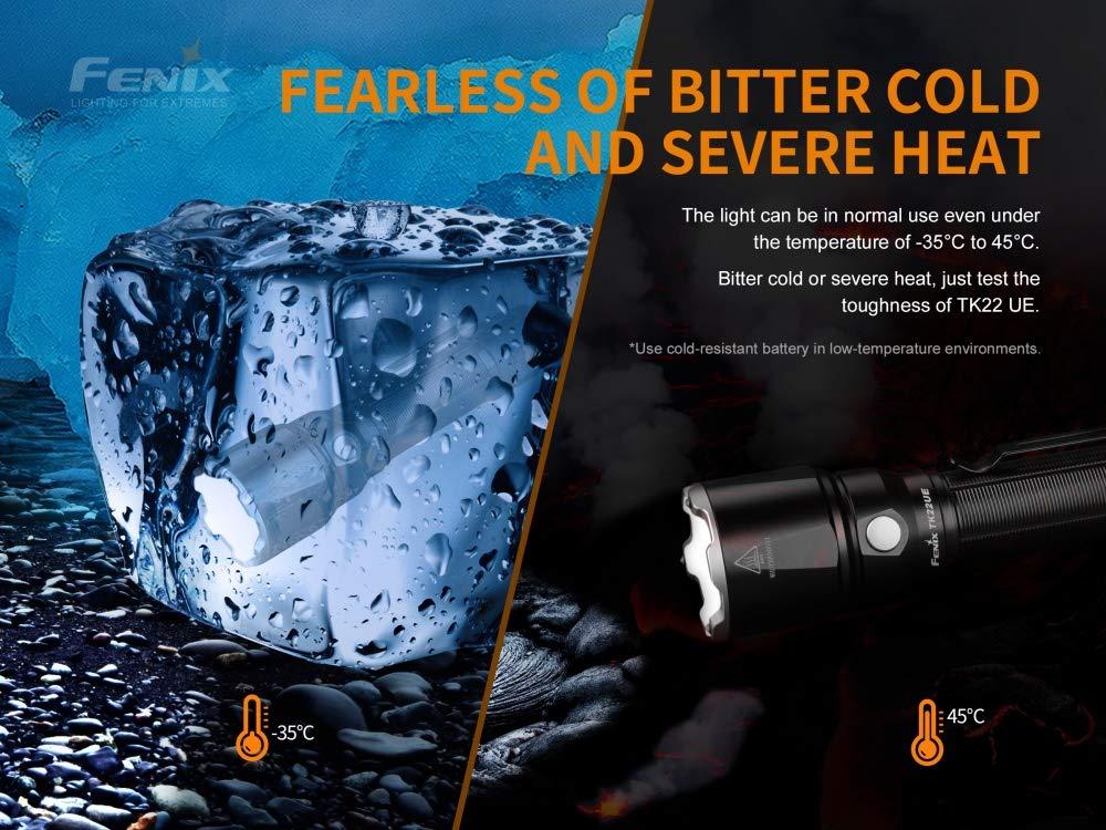 FENIX Unisex-Adult Tactical Flashlight TK22 UE LED Taschenlampe 1600 Lumen small Black