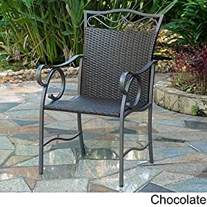 International Caravan 2-Piece Valencia Resin Wicker and Steel Chairs in Chocolate