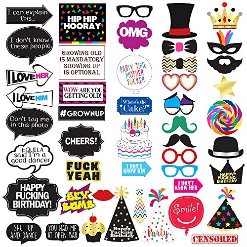 Funny Birthday Photo Booth Props - 47 Pieces - 21st - 30th - 40th - 50th - 60th - 70th - 80th - 90th  Birthday Party Supplies, Decorations and Favors