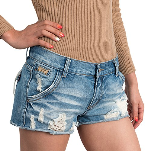 ililily Women Vintage Distressed Light Washed Cotton Jean Pants Denim Shorts , Light Blue Denim, US-Small