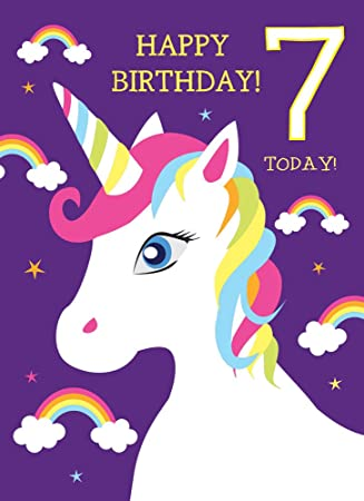 7th Birthday Card For Girl Unicorn Rainbows Glitter Happy 7 Today