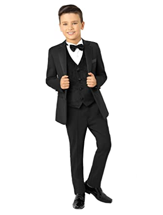 c9cd1271b Paisley of London Boys Black Tuxedo with Velvet Waistcoat, Boys Prom Suit,  1-13 Years: Amazon.co.uk: Clothing