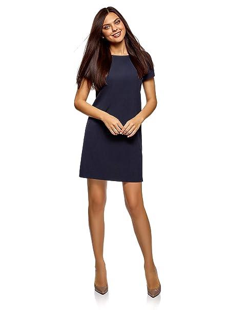 oodji Collection Mujer Vestido Recto Básico, Azul, ES 36 / XS